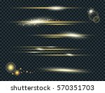 vector set of glow lightning... | Shutterstock .eps vector #570351703