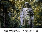 graceful angel statue holding... | Shutterstock . vector #570351820