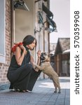 beautiful young woman in black... | Shutterstock . vector #570359908
