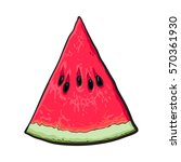 triangular slice of ripe... | Shutterstock .eps vector #570361930