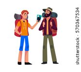 two man travelling  hitchhiking ... | Shutterstock .eps vector #570367534