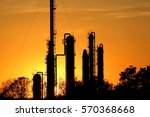 silhouette of oil refinery... | Shutterstock . vector #570368668