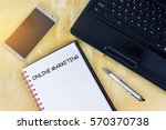 a blank book with text online...   Shutterstock . vector #570370738