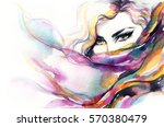 abstract woman face. fashion... | Shutterstock . vector #570380479