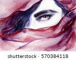 vampire. eye. abstract face.... | Shutterstock . vector #570384118