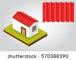house corrugated roof | Shutterstock .eps vector #570388390