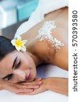 woman lying on massage table...   Shutterstock . vector #570393580