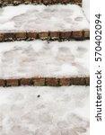 dangerous ice covered walkway...   Shutterstock . vector #570402094