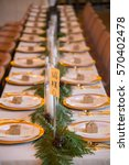 wedding reception tables with...   Shutterstock . vector #570402478