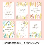 vector modern love cards ... | Shutterstock .eps vector #570403699