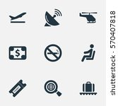 set of 9 simple airport icons.... | Shutterstock .eps vector #570407818