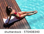woman enjoying sunbath on the... | Shutterstock . vector #570408340