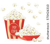 pop corn in a red bowl with pop ... | Shutterstock .eps vector #570426310