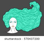 beautiful girl face with long... | Shutterstock .eps vector #570437200