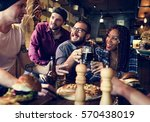diverse people hang out pub...   Shutterstock . vector #570438019