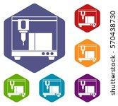 3d printer icons set rhombus in ... | Shutterstock .eps vector #570438730