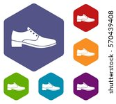 men shoe icons set rhombus in...