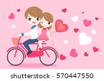 cute cartoon couple ride... | Shutterstock . vector #570447550