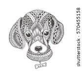 Stock vector  hand drawn dog with ethnic floral pattern coloring page zendala design for relaxation and 570455158