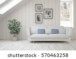 white room with sofa and winter ... | Shutterstock . vector #570463258