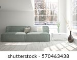 white room with sofa and winter ... | Shutterstock . vector #570463438