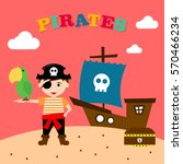 kid in pirate costume poster.... | Shutterstock .eps vector #570466234