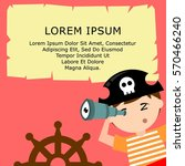 kid in pirate costume poster.... | Shutterstock .eps vector #570466240