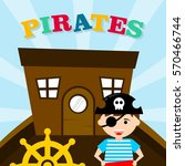 kid in pirate costume poster.... | Shutterstock .eps vector #570466744