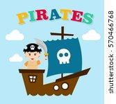 kid in pirate costume poster.... | Shutterstock .eps vector #570466768