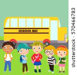 group of children and school bus | Shutterstock .eps vector #570466783
