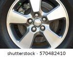 wheel closeup with brake disc... | Shutterstock . vector #570482410