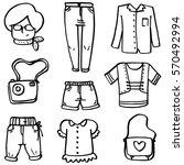 doodle of women clothes set... | Shutterstock .eps vector #570492994