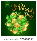 clovers  coins and original... | Shutterstock .eps vector #570498556