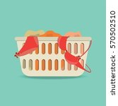 laundry basket with underwear... | Shutterstock .eps vector #570502510