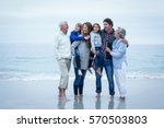 full length of cheerful family... | Shutterstock . vector #570503803