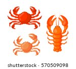 Lobster And Crab Vector Flat...