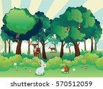 cartoon summer forest landscape ... | Shutterstock .eps vector #570512059