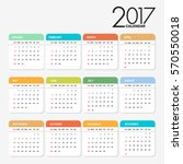 calendar for 2017 colorful style | Shutterstock .eps vector #570550018