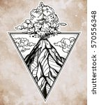 hand drawn volcano in triangle... | Shutterstock .eps vector #570556348