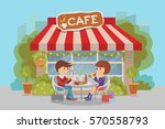 girl and boy eating fast food....   Shutterstock .eps vector #570558793