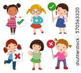 set of girls holding and doing...   Shutterstock .eps vector #570563320