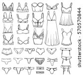 hand drawn sketch lingerie set. ... | Shutterstock . vector #570570844