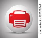 red printer icon on white sphere   Shutterstock .eps vector #570583264