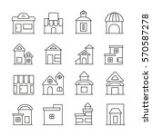 building icons set line style | Shutterstock .eps vector #570587278