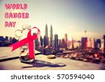 world cancer day concept   pink ...   Shutterstock . vector #570594040