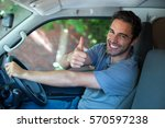 portrait of happy man showing... | Shutterstock . vector #570597238