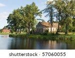 landscape with house on lake | Shutterstock . vector #57060055