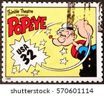 Small photo of Milan, Italy - January 30, 2017: Popeye on american postage stamp