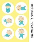 baby milestones vector | Shutterstock .eps vector #570601180