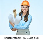 smiling business woman engineer ... | Shutterstock . vector #570605518